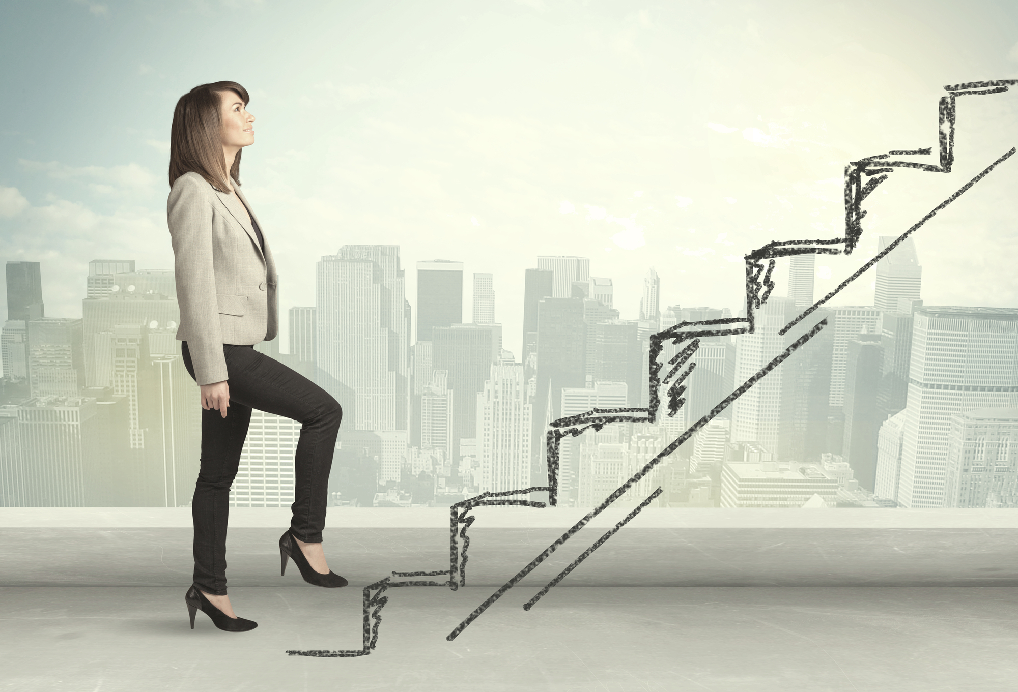 Business woman climbing up on hand drawn staircase