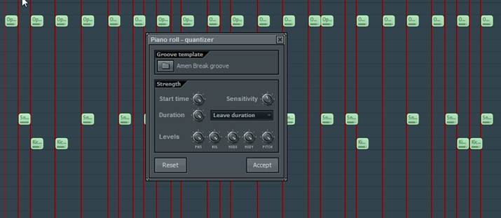 Quantizing based on groove template