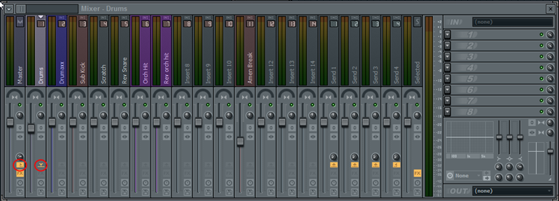 Routing drum tracks to master