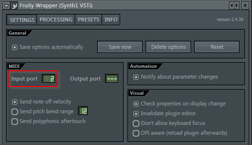 Synth1 channel settings