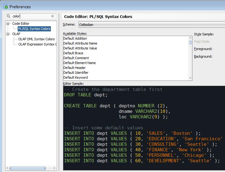 SQL Developer Settings