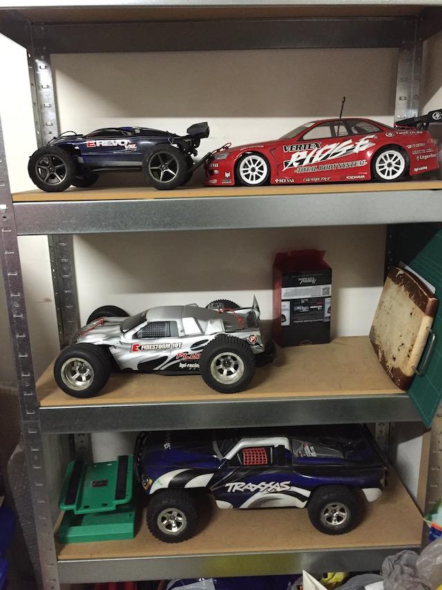 Rack full of R/C cars